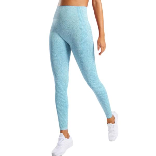 Kvinnors butteri mjuka hög midja yogabyxor full längd leggings Sky Blue L