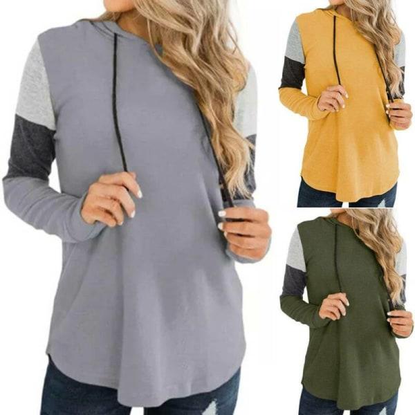 Kvinnors långärmade luvtröjor med lösa skjortor Blus Damtopp