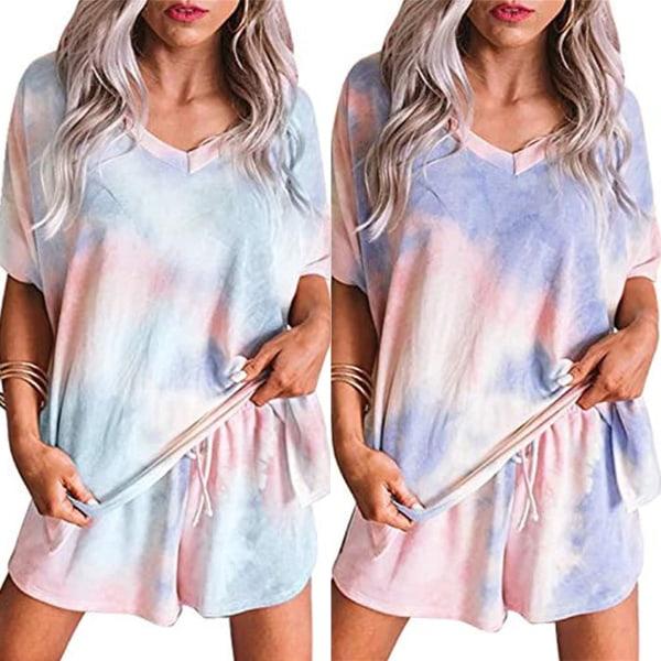 Kvinnor Loungewear Tie Dye kortärmad T-shirt Shorts Pyjamas Dark Blue M