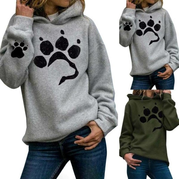 Womens Pullover Printed Ladies Hooded Sweatshirt Blouse Tops Grey M