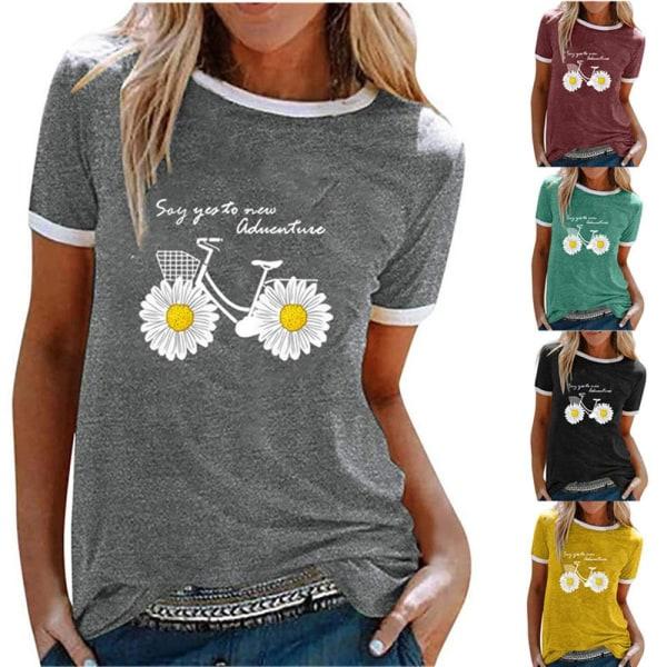 Kvinnors kortärmad T-shirt sommarblus med lösa toppar