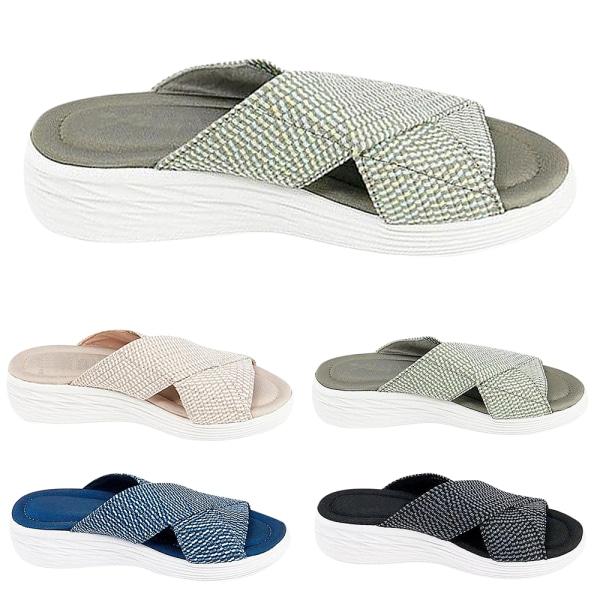 Kvinnors sommar Cross Slide Sandaler Casual Bekväma skor Blå