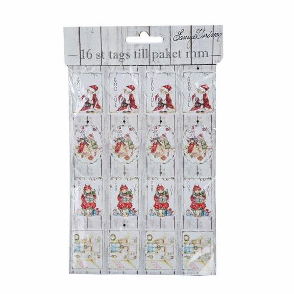 Julklappsetiketter Tags 16-pack Röd