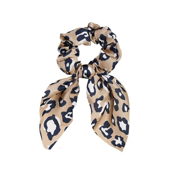 Bowknot Scrunchie Leopard (beige) Beige