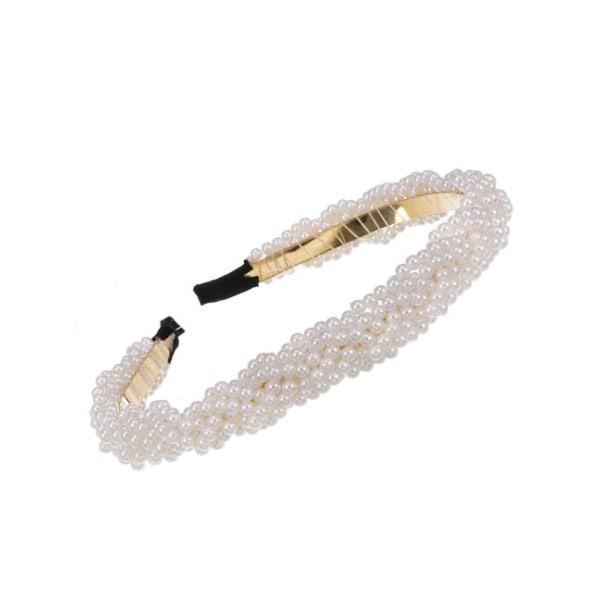Diadem Flätat med Små Pärlor (vit) Vit
