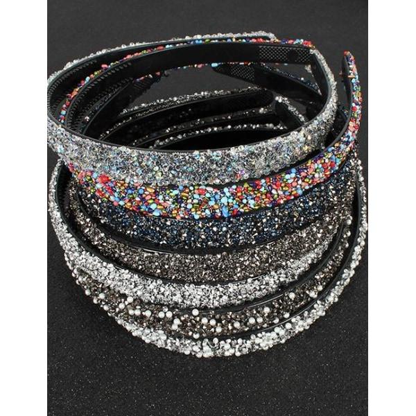 Diadem med Glitter (silver) Svart