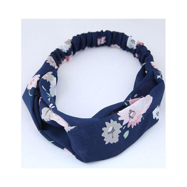 Hårband Twisted Blommigt (marinblå)
