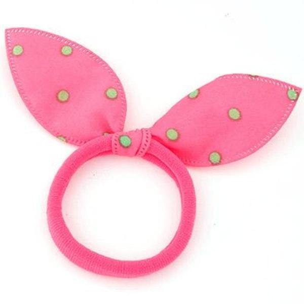 Hårsnodd med Liten Rosett  (rosa/grön/prickig) Pink one size