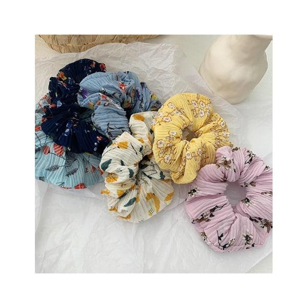 Hårsnodd Pleated Floral Scrunchie (turkosblå)