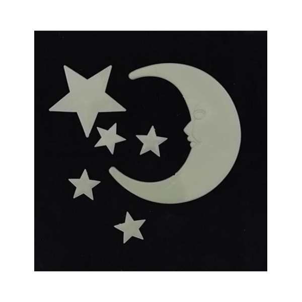 Självlysande Glow In The Dark 1 Stor Måne + 5 Stjärnor Ljusgul