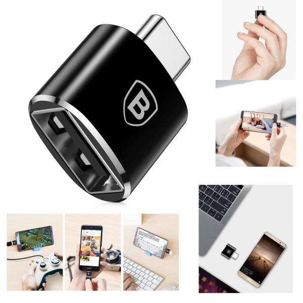 Baseus USB Type-C till USB OTG-Converter Adapter Kontakt Svart