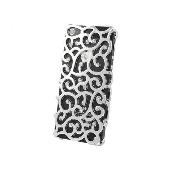 iPhone 5 / 5s / SE Fancy Bakstycket med Displayskydd -Silver Silver