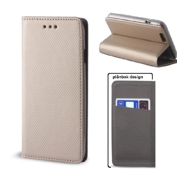 Motorola One Action - Smart Magnet Fodral Mobilplånbok -Guld Guld