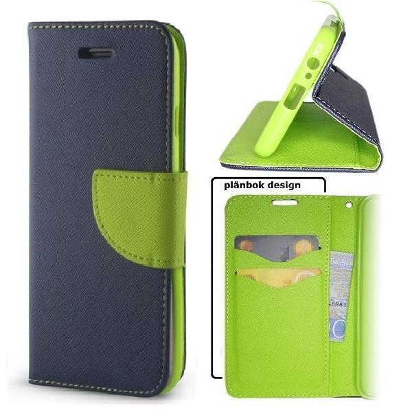 Samsung Galaxy A21s - Smart Fancy Mobilplånbok -Marinblå/grön Marinblå