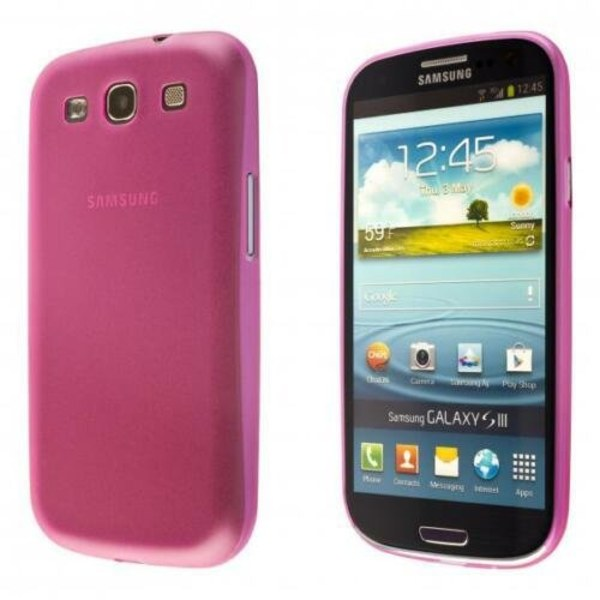 Samsung Galaxy S3 TPU Skal - Transparent Rosa + Displayskydd
