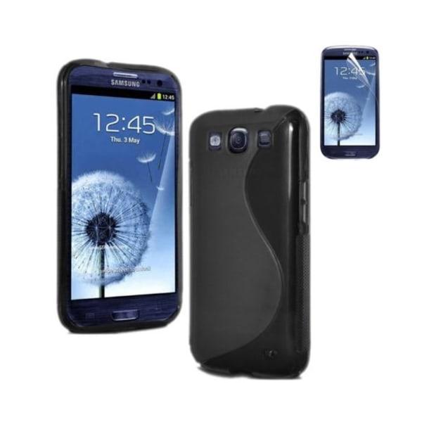 Samsung Galaxy S3 TPU Skal - Transparent Svart + Displayskydd