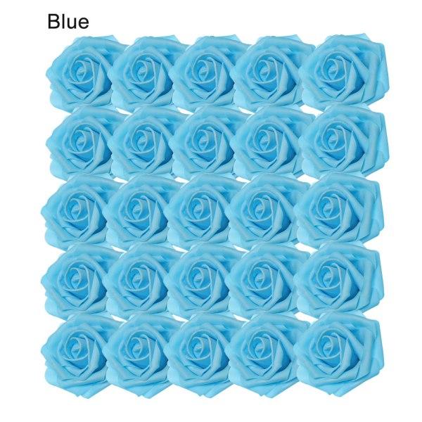 Artificial Foam Flowers Fake Roses Bridal Bouquet BLUE 25PCS blue 25pcs