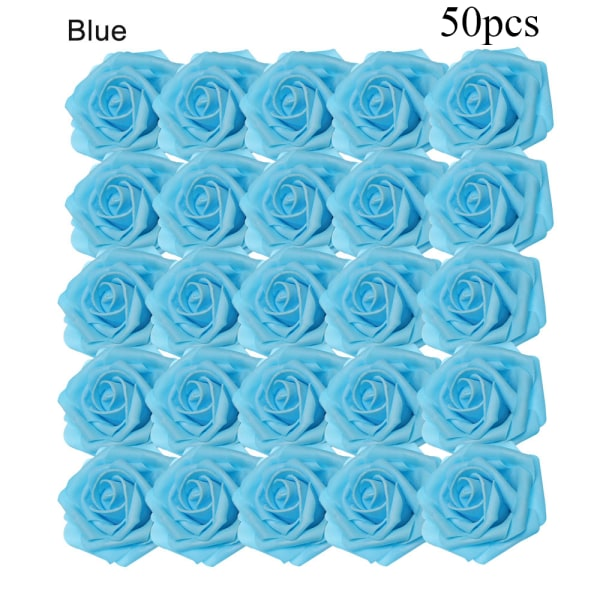 Artificial Foam Flowers Fake Roses Bridal Bouquet BLUE 50PCS blue 50pcs