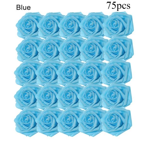 Artificial Foam Flowers Fake Roses Bridal Bouquet BLUE 75PCS blue 75pcs
