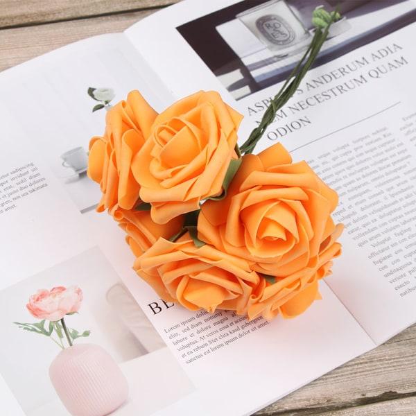 Artificial Foam Flowers Fake Roses Bridal Bouquet ORANGE 25PCS orange 25pcs