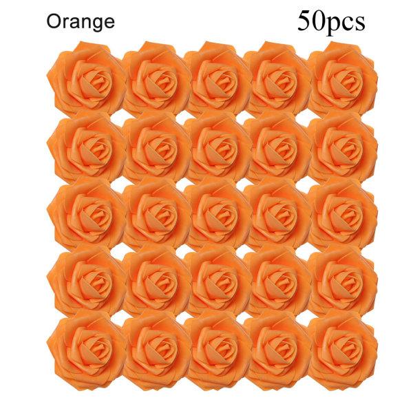 Artificial Foam Flowers Fake Roses Bridal Bouquet ORANGE 50PCS orange 50pcs