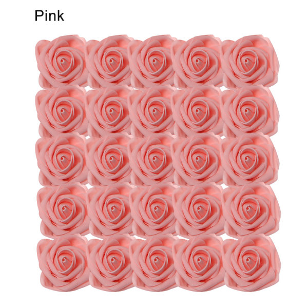 Artificial Foam Flowers Fake Roses Bridal Bouquet PINK 25PCS pink 25pcs