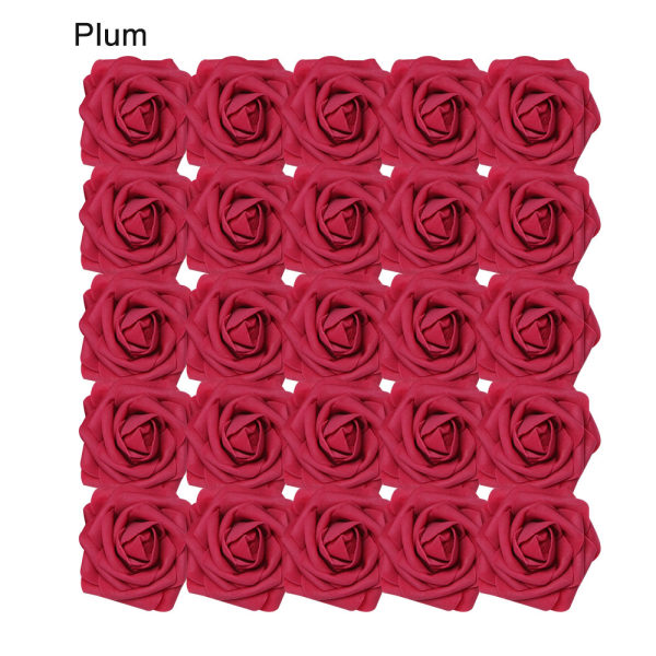 Artificial Foam Flowers Fake Roses Bridal Bouquet PLUM 25PCS plum 25pcs