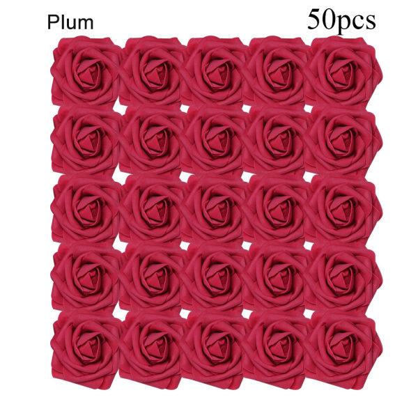 Artificial Foam Flowers Fake Roses Bridal Bouquet PLUM 50PCS plum 50pcs