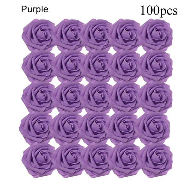 Artificial Foam Flowers Fake Roses Bridal Bouquet PURPLE 100PCS purple 100pcs
