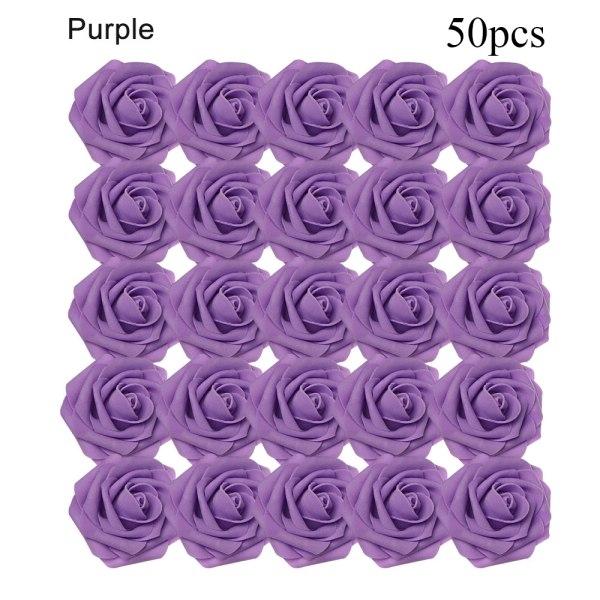 Artificial Foam Flowers Fake Roses Bridal Bouquet PURPLE 50PCS purple 50pcs