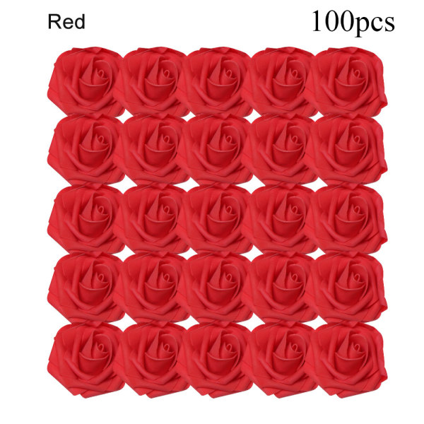 Artificial Foam Flowers Fake Roses Bridal Bouquet RED 100PCS red 100pcs