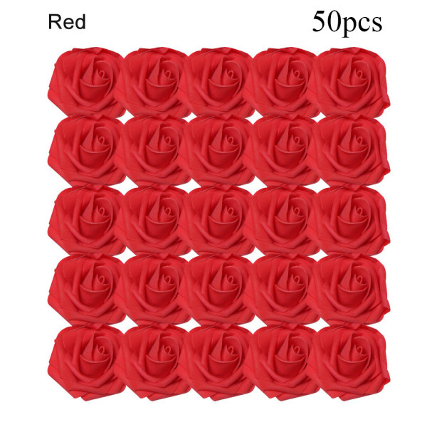 Artificial Foam Flowers Fake Roses Bridal Bouquet RED 50PCS red 50pcs