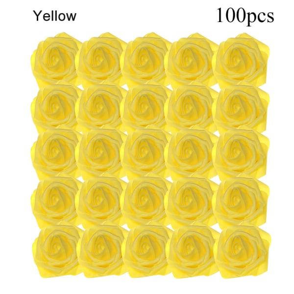 Artificial Foam Flowers Fake Roses Bridal Bouquet YELLOW 100PCS yellow 100pcs