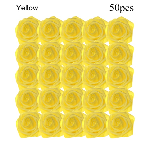 Artificial Foam Flowers Fake Roses Bridal Bouquet YELLOW 50PCS yellow 50pcs