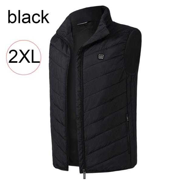 Electric Heating Vest USB Charge Thermal Jacket BLACK 2XL black 2XL