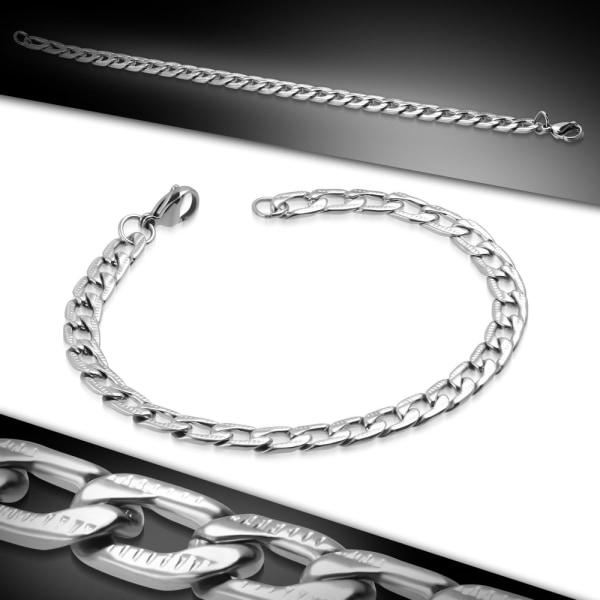 Armband Pansarlänk Rostfritt stål 22 cm/6,5 mm Silver
