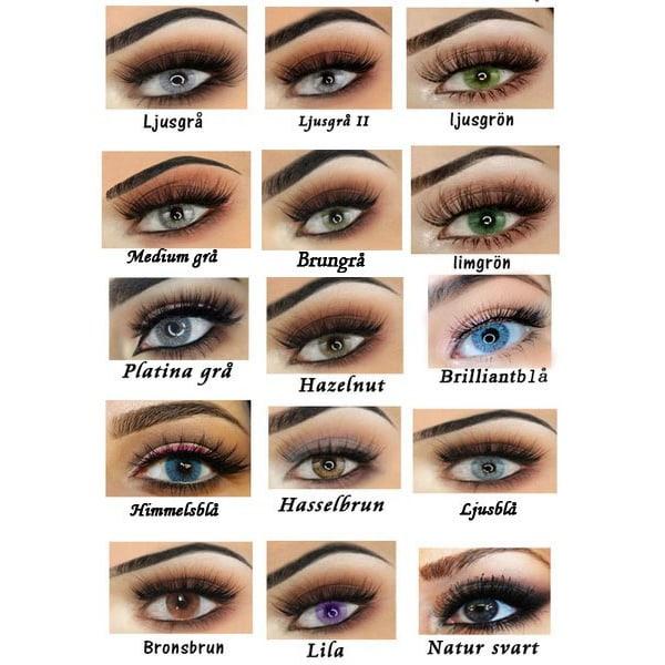 Linser för bruna / mörka ögon. Med linsetui. Ljusgrå
