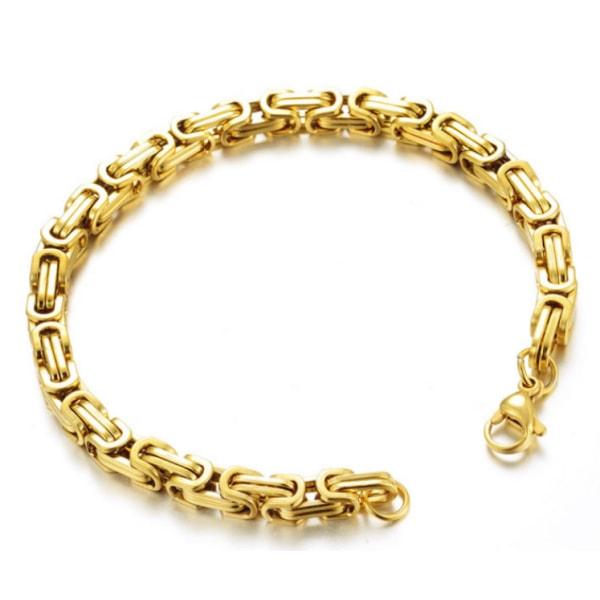 Kejsarlänk guld armband i rostfritt stål med 18k guldplätering 19cm