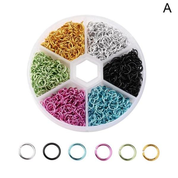 3D nagelsmycken Färgglada aluminiumtråd öppna hoppringar 6mm