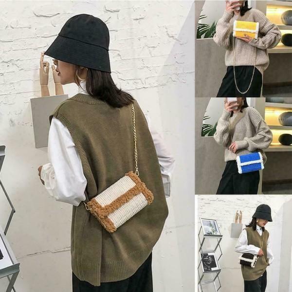 handvävd väska ull en axelväska plyschväska diy
