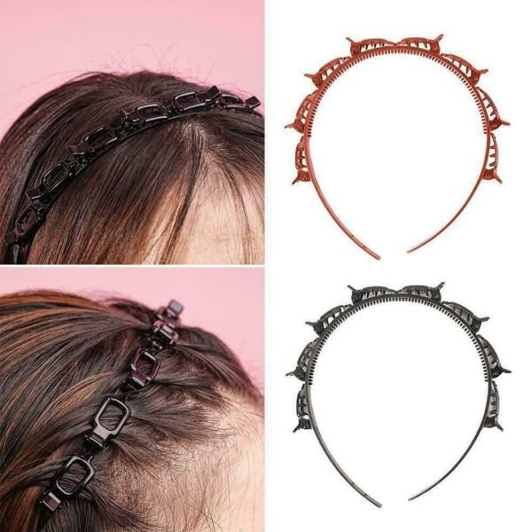 Flera lager ihåligt vävt hårband Kvinnor hårnål flätat pannband