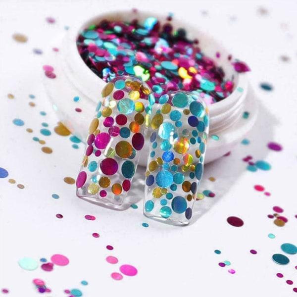 Sparkly Hexagon Nail Glitter Flakes Paljetter 3D Nail Art Blue