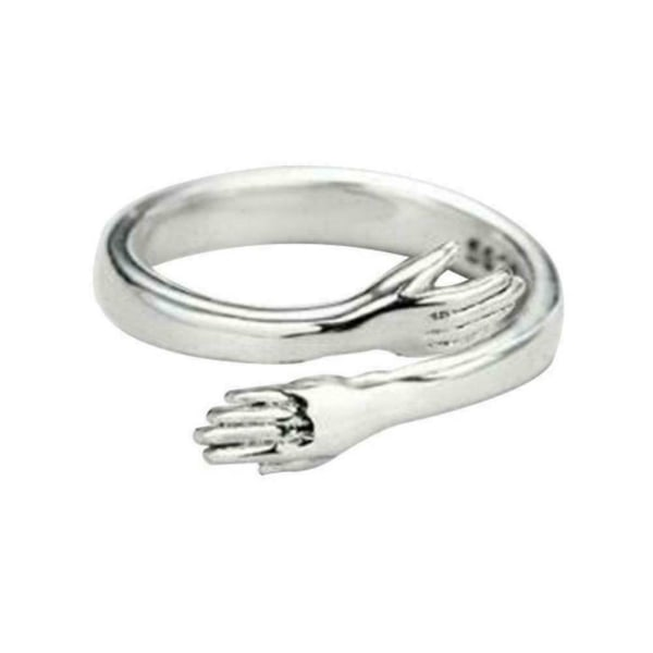 Sterling Silver Love Hug Ring Band Open Finger Fully Adjustable