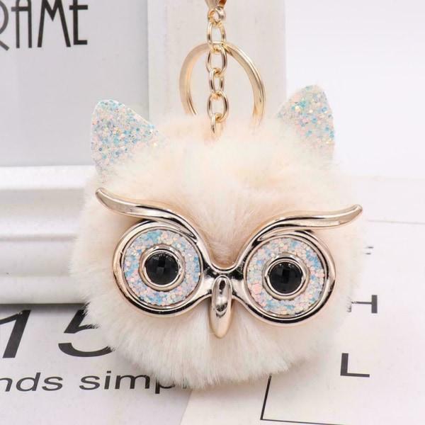 Kvinnor plysch Pompom Ball Owl Nyckelring Nyckelring Bilnyckel Handväska NE