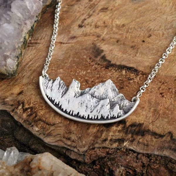 Kvinnors antika Mountain Tree Sun Landscape Pendant Presents