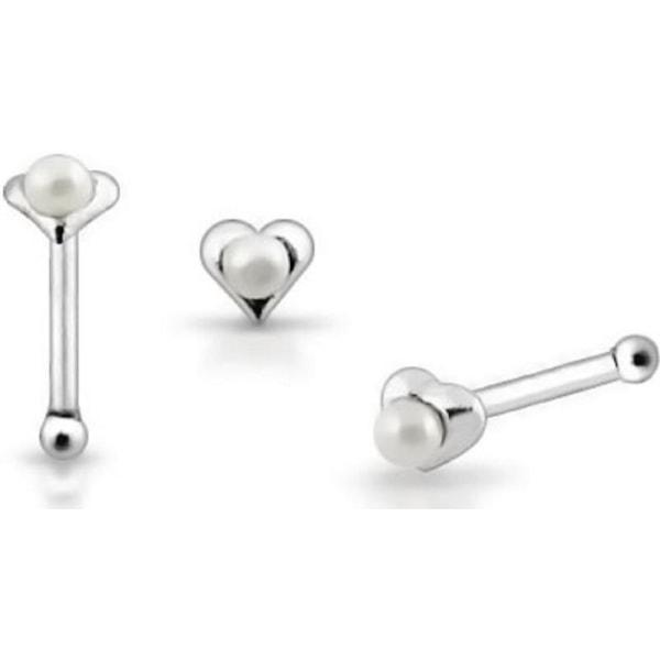 1 st. Hjärtformad näspiercing i silver med vit pärla