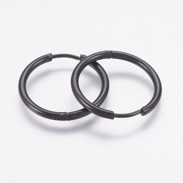1Par 20 mm Hoops örhängen i Svart 316L kirurgiskt stål