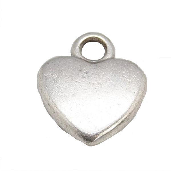 50 st Nickelfria silverpläterade hjärtformade berlocker i tibet