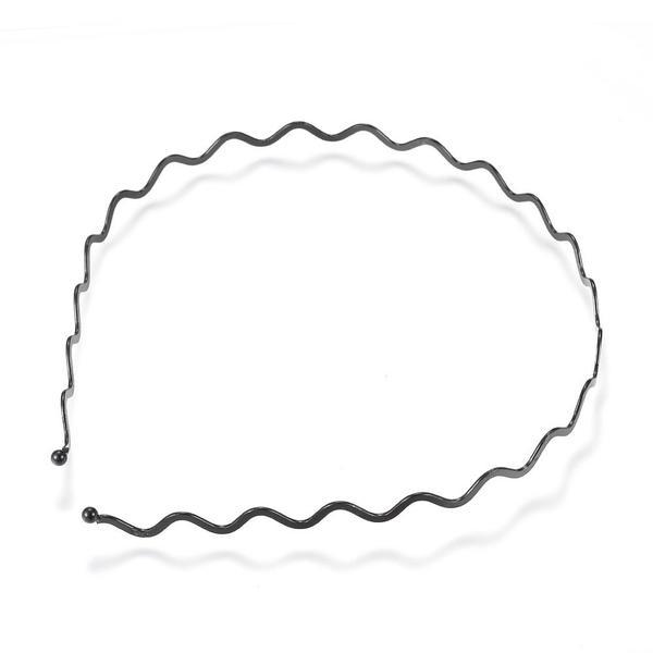 Vågigt svart  tunn metall diadem (3 mm. tjock)