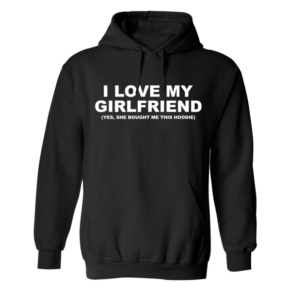 I Love My Girlfriend - Hoodie / Tröja - DAM Svart - XL